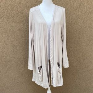 LOGO 2X plus size open front cardigan nude